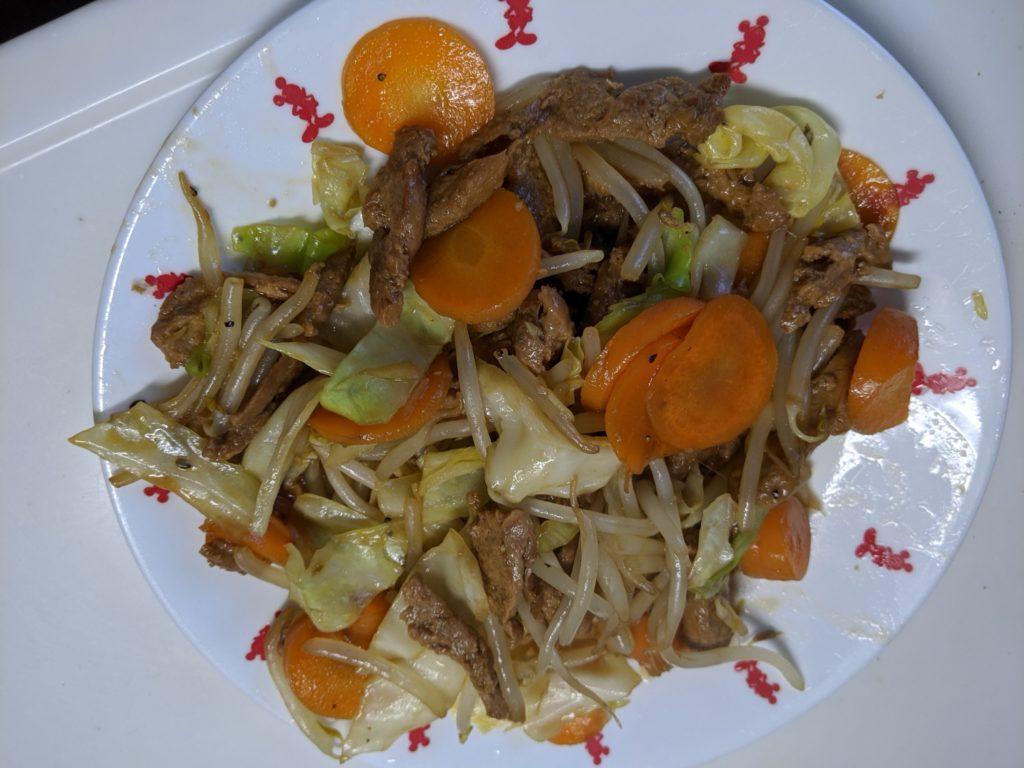 大豆のお肉料理後野菜炒め
